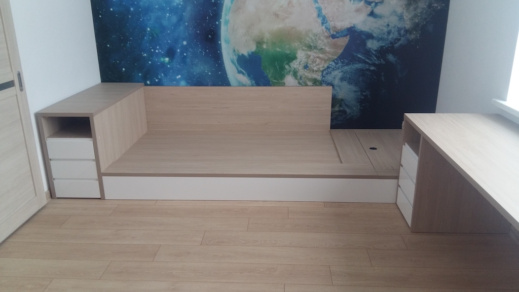 Жасмин кровать корпус Лдсп 32 мм фасад эмаль с интегрированной ручкой