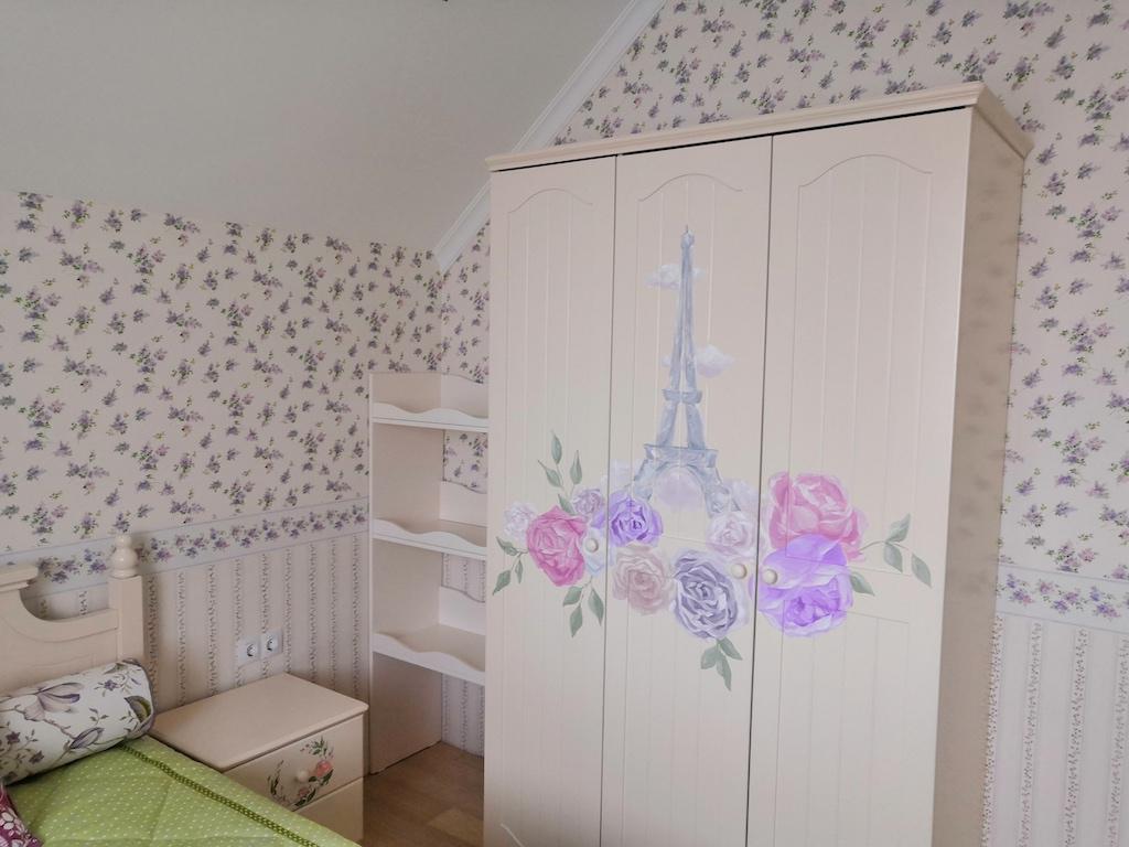 Париж шкаф, корпус Лдсп, фасад эмаль с росписью